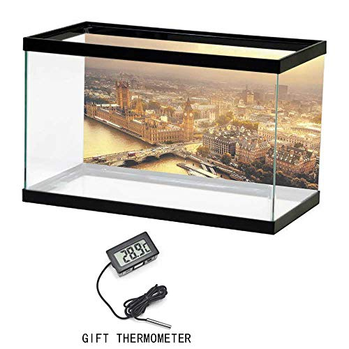 Aquarium Fish Tank Background Poster, Cityscape, Westminster Aerial View with Thames River and London Urban Cityscape Panoramic, Gold Grey, 24