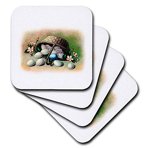 (3dRose Uta Naumann Sayings and Typography - Victorian Flower Vintage Easter Eggs Basket Illustration - set of 4 Ceramic Tile Coasters (cst_292157_3))