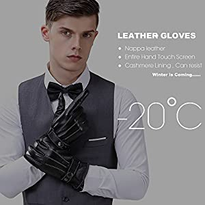 "Mens Best Luxury Touchscreen Italian Nappa Genuine Leather Winter Warm Gloves for Texting Driving Cashmere Lining (L-8.9"", Black)"