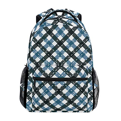 Backpack Blue Black Check Plaid Cross Lines Canvas School Bags Laptop Daypack