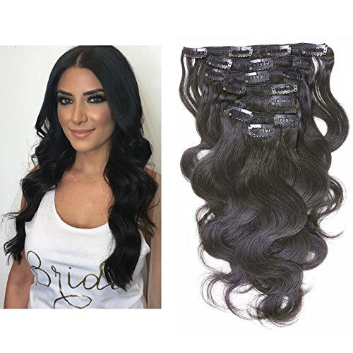 Beauty : Lacer Hair Body Wave Wavy Remy Clip in Hair Extensions Double Weft 12 inch Natural Black #1B 7pcs 120g/Set Body Wave Clip Ins Full Head Human Hair Extensions Real Hair 16Clips Wavy Weaves For Women