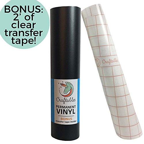 Craftables Matte Black Vinyl Roll - Permanent, Adhesive, Matte & Waterproof | 12'' x 10' | w/Premium Clear Transfer Tape - for Crafts, Cricut, Silhouette, Expressions, Cameo, Decal, Signs, Stickers by Craftables