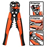 KSEIBI 141722 Multi-functional Self Adjusting Wire Stripper Tool and Cable Cutter 8 Inch for Cutting, Stripping and Crimping Wire 10-24 AWG Stranded Wire.