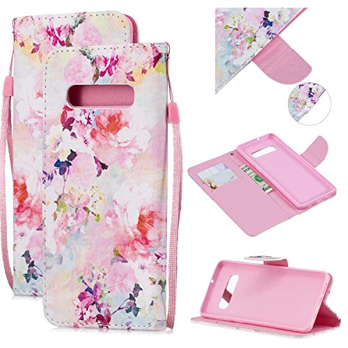 Cfrau Leather Case with Black Stylus for Samsung Galaxy S10 Plus,Cute Design Magnetic Wallet Flip PU Leather Card Slots Kickstand Hand Strap with Soft TPU Case for Galaxy S10 Plus - Watercolor Flower