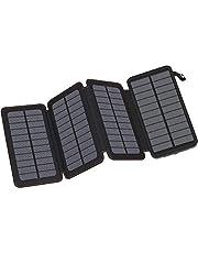 Hiluckey Power Bank 24000mAh, Cargador Solar con 3 Paneles Solares Impermeable Portátil Batería Externa para iPhone, Samsung, Tablets y más