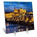 3dRose Danita Delimont - Bridges - Spain, Andalusia. Cordoba. Roman bridge across the Guadalquivir river. - 6x6 Desk Clock (dc_277894_1)