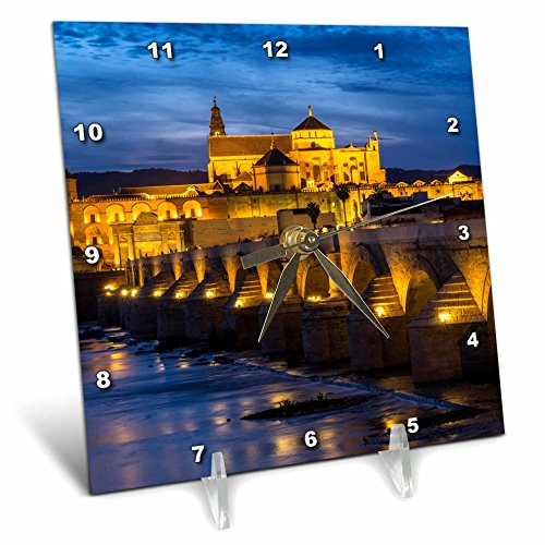 3dRose Danita Delimont - Bridges - Spain, Andalusia. Cordoba. Roman bridge across the Guadalquivir river. - 6x6 Desk Clock (dc_277894_1) by 3dRose