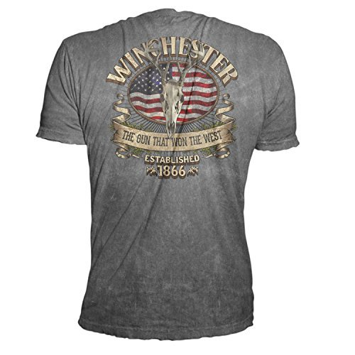 Official Winchester Men's Limited Edition Southern Rebel Skull Graphic Short Sleeve T-Shirt (XL, Charcoal Mineral Wash)