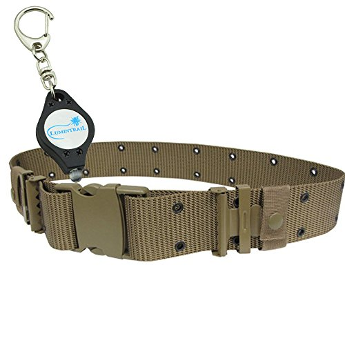 Gi Style Nylon Belts (CONDOR COYOTE BROWN G.I. Style Nylon Pistol Belt Quick Release (PB) PLUS 1 Lumintrail Keychainlight)