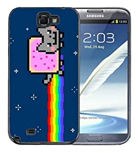 Samsung Galaxy Note 2 Black Rubber Silicone Case - Nyan Cat Meem Pop Tart Cat