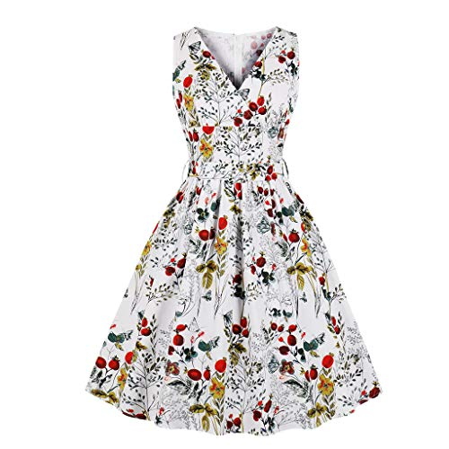 - Toimothcn Womens Vintage Floral Dress Sleeveless V-Neck Elastic Waist Bandage Casual Mini Dresses(White,S)
