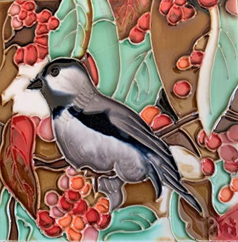 Chickadee Bird with Red Berries Decorative Ceramic Wall Art Tile 4x4 ()