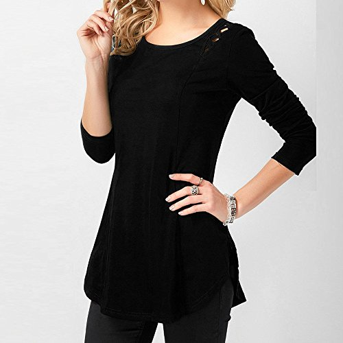 Tops Chandail Crisscross Black Chic Top vider Femme Blouse Shirt T Mode Fleuri Solide Lace Chemisier RTro Longues Manches LGant Pull Blouse fminine xpa1wzqH