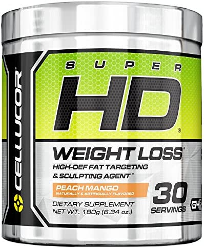 Superhd Thermogenic Fat Burner Powder for Men Women Peach Mango Weight Loss Fat Burner Supplement with Nootropic Focus Energy, 30 Servings