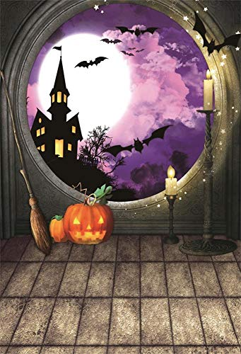 OFILA Halloween Party Backdrop 5x7ft Kids Halloween Party Photography Background Pumpkin Lights Haunted Castle Halloween Eve Party Decoration Bats Magic Halloween Photos Shoot Props ()