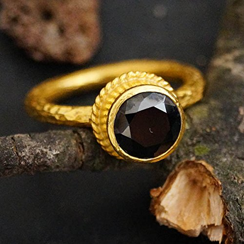 - Sterling Silver Black Onyx Ring 24k Gold Vermeil Handcrafted Turkish Designer Fine Jewlery by Omer Women Solitaire Stackable Ring