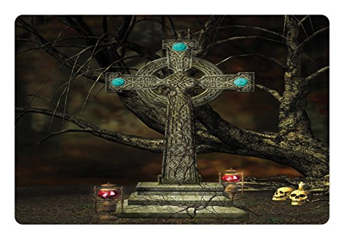 Lunarable Gothic Pet Mat for Food and Water, Gothic Cross Tree Grave Skulls and Tombstone Lanterns Graveyard Night Art, Rectangle Non-Slip Rubber Mat for Dogs and Cats, Olive Green Aqua ()