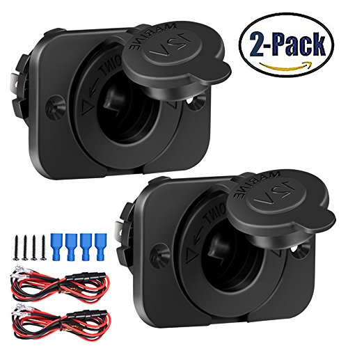 2Pack Cigarette Lighter Socket Car Marine Motorcycle ATV RV Lighter Socket Power Outlet Socket Receptacle 12V Waterproof Plug by ZHSMS (Rv Marine Cars)
