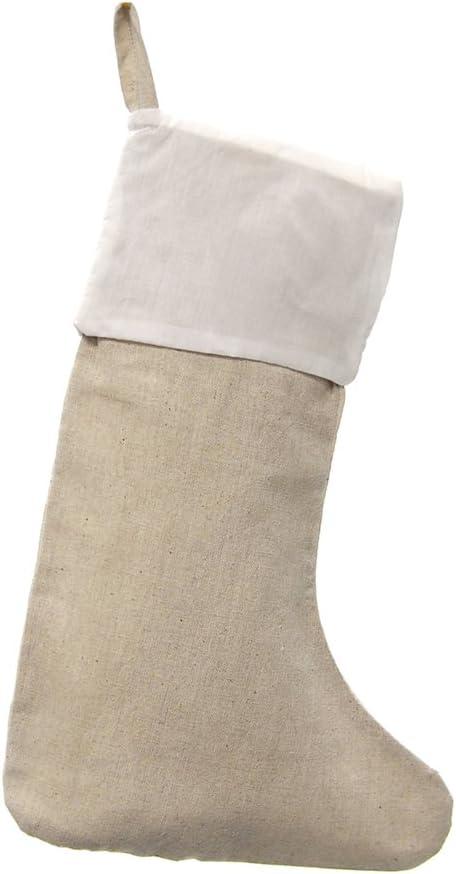 6-Piece 17-Inch Plain Cotton Canvas Christmas Stockings