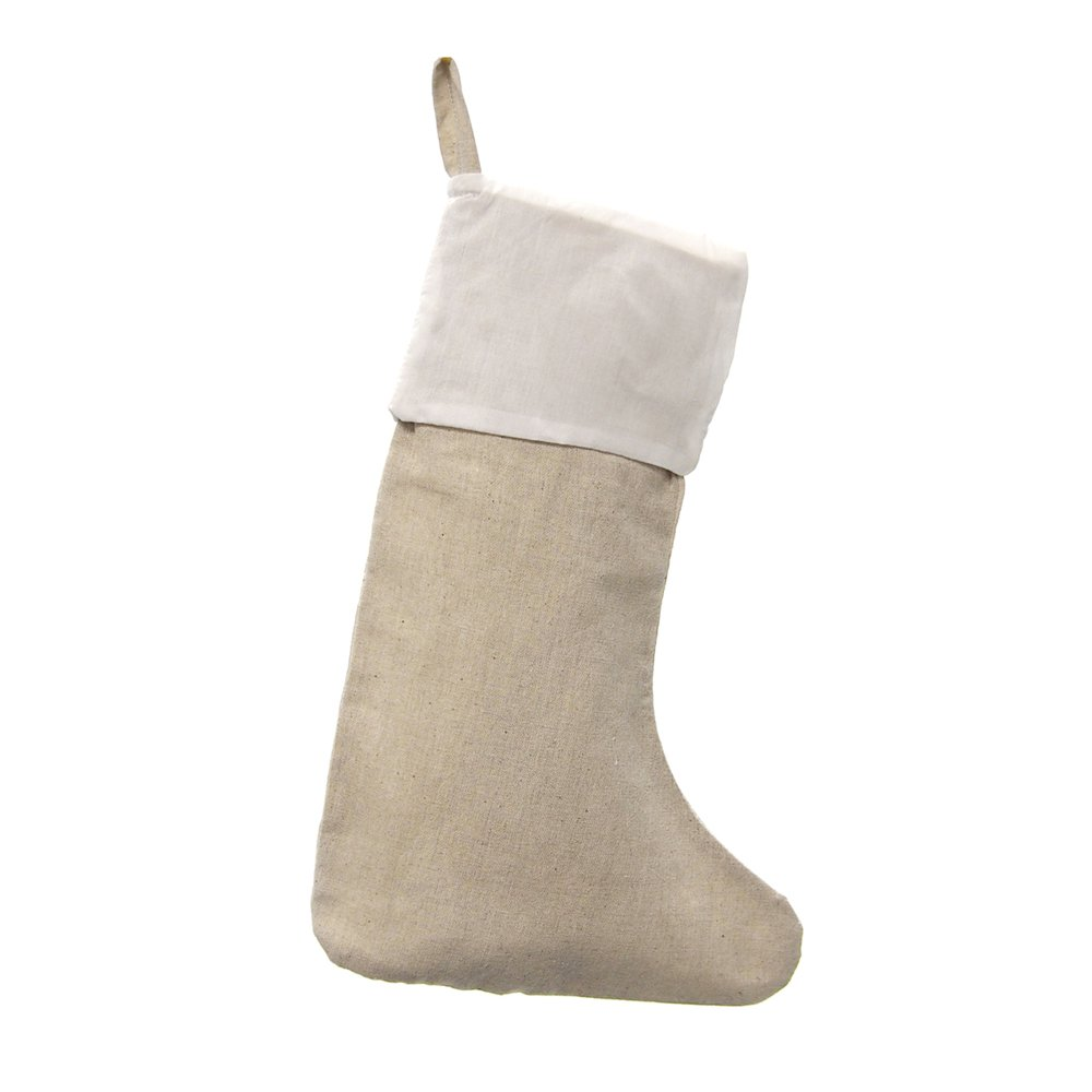 Homeford FHV000B99972_06X Linen Natural Christmas Stockings with White Cuff (6 Pack), 16''