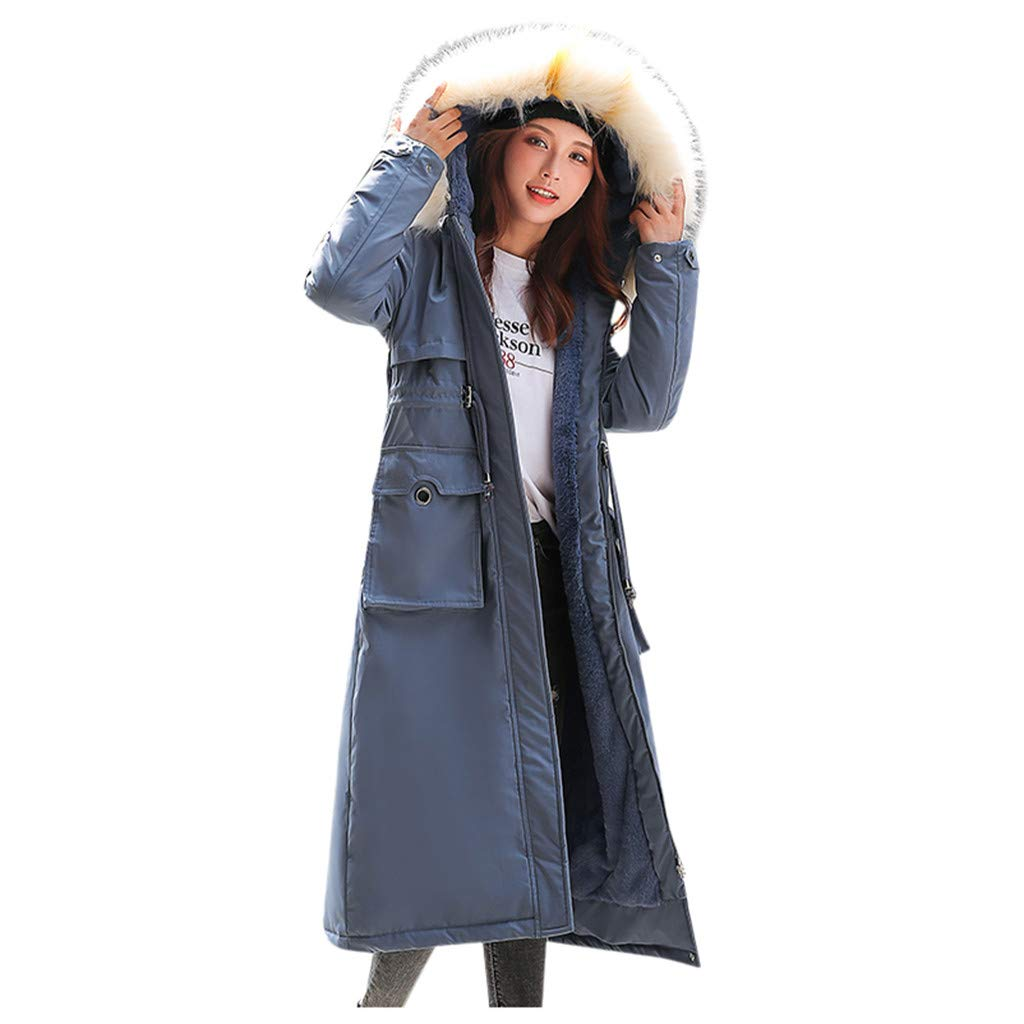 Malbaba Women Outerwear Faux Hooded Button Coat Long Solid Jackets Pocket Coats Blue by Malbaba