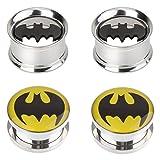 00 double steel plug - IPINK-Batman Stainless Steel Screw-On Gauges / Tunnels Double Flare Ear Plugs 2 Pairs (2 Pair of 00 gauge(10mm))