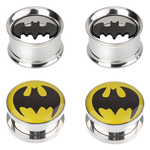 IPINK-Batman Stainless Steel Screw-On Gauges/Tunnels Double Flare Ear Plugs 2 Pairs (2 Pair of 12mm (1/2 inch)) ()