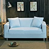 Knitted stretch sofa covers surefit ,Sofa slipcovers throw,Anti-Slip stain resistant 1-Piece furniture protector full cover for living room-blue pillow case 17.7*17.7 in