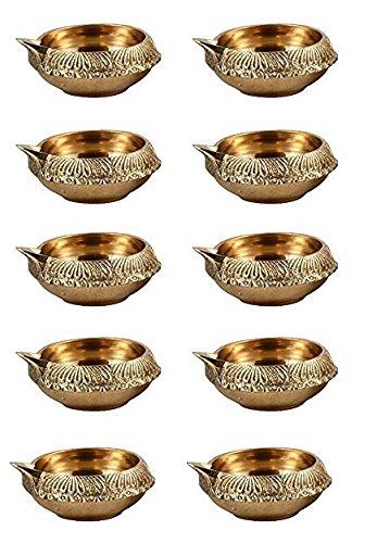 100% Pure Virgin Brass Diwali Diya (Set of 10) Indian Pooja Oil Lamp - Golden Engraved Design Dia - 2.5 Inch. Deepawali Diya/Tea Light Holder/Diwali/Christmas Decoration. Traditional Oil Lamp Diwali Candles