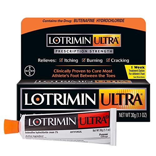 - Lotrimin Ultra 1 Week Athlete's Foot Treatment, Prescription Strength Butenafine Hydrochloride 1%, Cures Most Athlete's Foot Between Toes, Cream, 1.1 Ounce