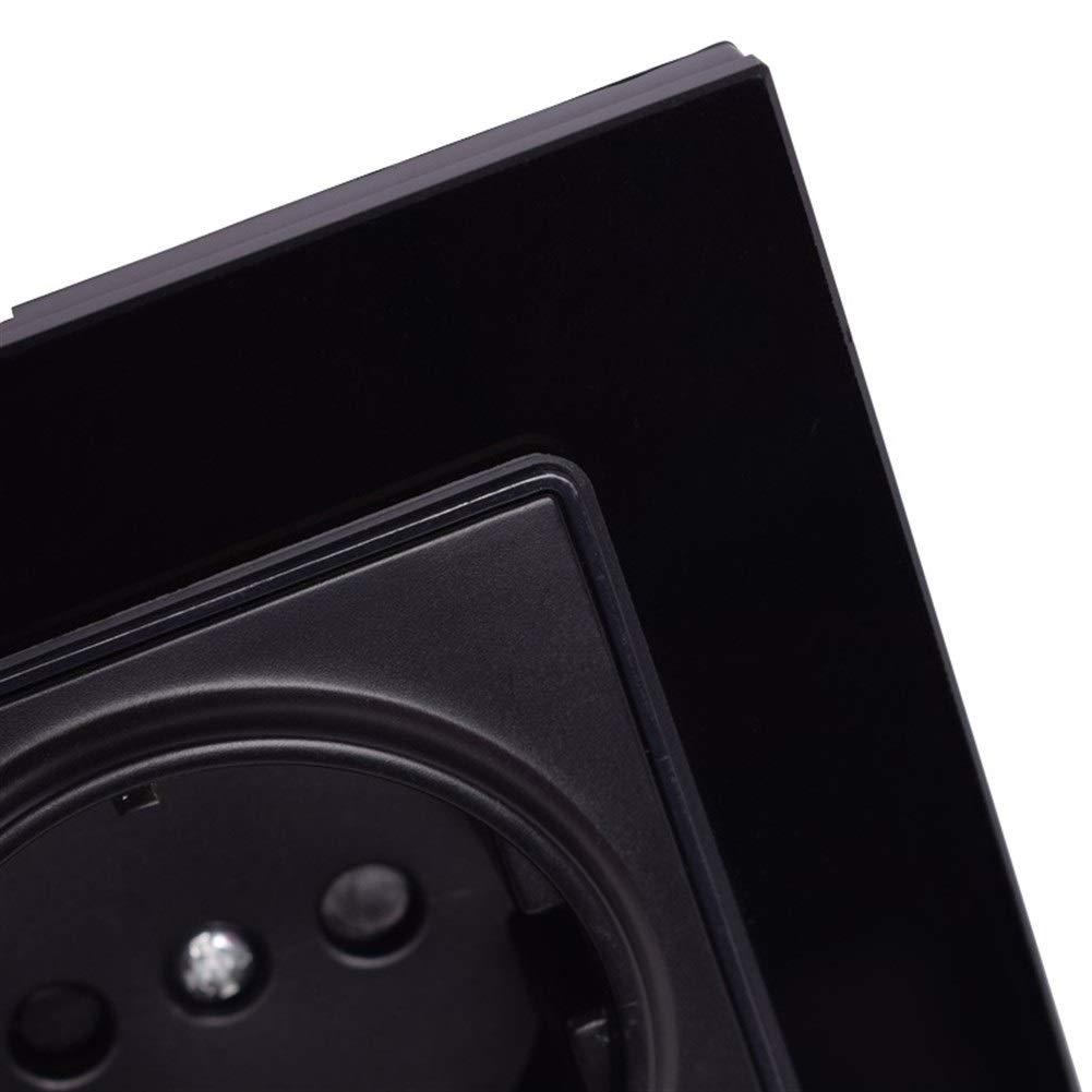 Type : Black, Voltage class/é : 110 250 V Toma De Corriente Toma De Corriente Del Panel De Cristal De Pared De Tierra Enchufe El/éctrico Est/ándar De La UE Negro 16A 86mm 86mm