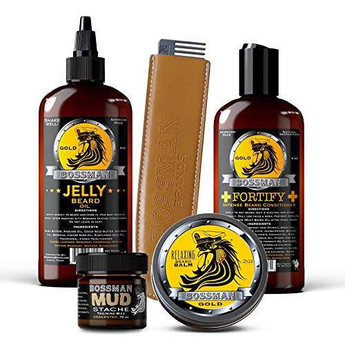 Bossman Complete Beard Kit - Beard Oil, Conditioner, and Balm. Eliminate Beard Itch, Grower a Thicker, More Mature Beard (Gold Scent)