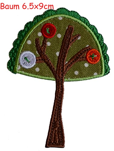 2 iron-on appliques set - Tree 7X9Cm and Cheeky Monster 7X6Cm embroidered application set by TrickyBoo Design Zurich Switzerland -