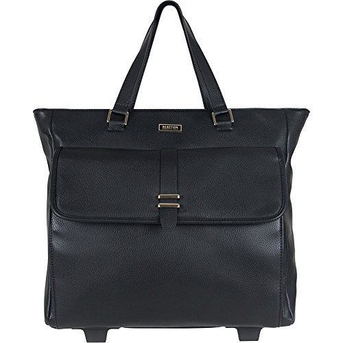 """Kenneth Cole Reaction Runway Call Pebbled Faux Leather Wheeled 15"""" Laptop Business Tote, Black"""