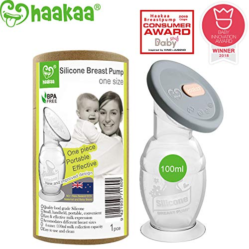 Haakaa Manual Breast Pump with Base 4oz/100ml+Lid (Best Recommended Breast Pump)