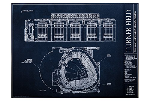 Turner Field - Blueprint Style Print (Unframed, 18