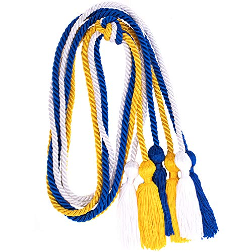 Whaline 3Pcs Graduation Honor Cords, Rayon Braided Honor Cords with Tassels for Grad Days and Graduates Photography (Royal Blue, Gold, White) ()