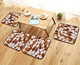 Printsonne Modern Chair Cushions Natural Wooden Rustic Square Figures High and Low Oak Logs Timbre Convenient Safety and Hygiene W23.5 x L23.5/4PCS Set