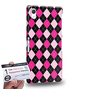 Case88 [Sony Xperia Z2] 3D impresa Carcasa/Funda dura para & Tarjeta de garantía - Art Trend Mix Design Argyle Pink & Black Combination