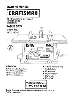 Craftsman 137 218780 Table Saw Owners Instruction Manual