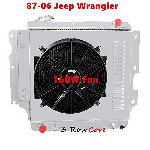Kit Engine Shroud (OzCoolingParts 87-06 Jeep Wrangler Radiator Fan Shroud Kit, 3 Row Core Aluminum Radiator + 16