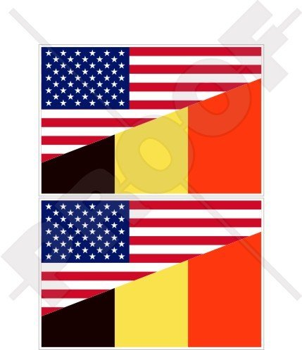 "USA United States of America & BELGIUM Flag, American & Belgian 3"" (75mm) Vinyl Bumper Stickers, Decals x2"