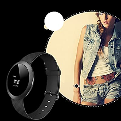Fitness Tracker Watch, Bluetooth smart bracelet with heart rate sleep monitor IP67 Waterproof round touch screen sports Smartwatch WristBand Activity Tracker For IOS Android Phone (Black)
