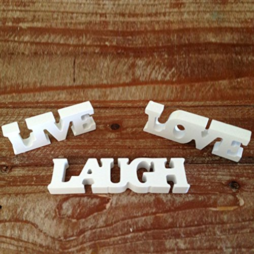 SALOCY LIVE LOVE LAUGH Wooden Letters for Wedding Decoration (White) (Live Laugh Wood Love Sign)