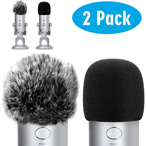 - ChromLives Microphone Cover for Blue Yeti Furry Windscreen +Foam Cover Compatible with Blue Yeti, Yeti Pro Condenser (Furry & Foam Combo 2Pack)