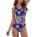 Zando Womens Bathing Suits One Piece Swimsuits Athletic Training Swimsuit Tummy Control Swimwear Swim Suits Blue Round Flower 6-8