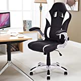 Giantex High Back Executive Racing Style Office Chair Gaming Chair Adjustable Armrest (Black&White)