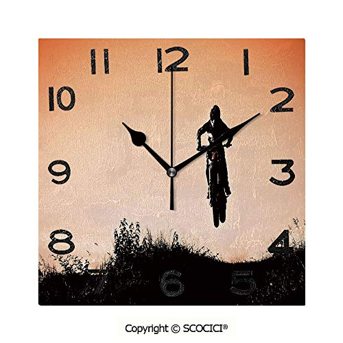 (SCOCICI 8 inch Square Clock Motorcycle Jumping Over Hills Horizon Sports Hobby Scenery Unique Wall Clock-for Living Room, Bedroom or Kitchen Use )
