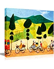 Picabala Abstract Vintage Framed Canvas Painting Warm Landscape Wall Art for Modern Home Decoration
