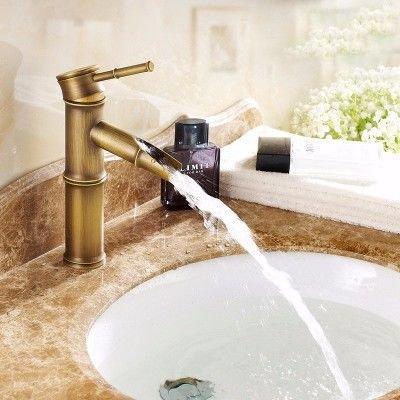 ETERNAL QUALITY Badezimmer Waschbecken Wasserhahn Messing Hahn Waschraum Mischer Mischbatterie Tippen Sie auf Waschbecken Wasserhahn antiken Bambus Waschbecken und Kaltes